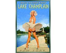 LAKE CHAMPLAIN New York -- Marilyn Monroe Travel Poster -available in 3 sizes- New Retro Original Wind Blown Skirt Pin Up Art Print 096