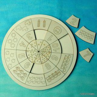VÝUKOVÉ POMŮCKY | MATEMATIKA A GEOMETRIE | KRUHOVÁ vkládačka ČÍSLICE A MNOŽSTVÍ | Tvořivý krámek