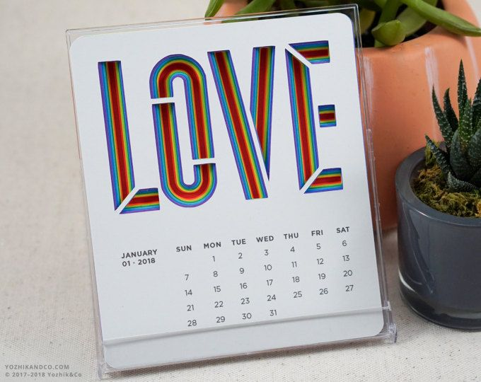 LOVE Calendar 2018  |  Die-cut calendar  |  Jewel Case Calendar  |  CD Case Calendar  |  Desktop Calendar  |  Office Calendar