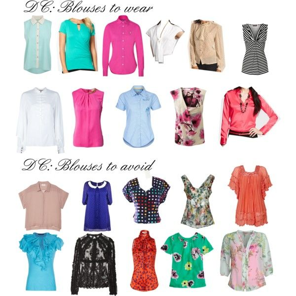 "Blouses for Dramatic Classic by wichy on Polyvore | NOTE: Half of these blouses are SC and SN. For DC: the solid pink tops (minus necklace) and the long-sleeve white top. The light blue tops are C. Kibbe wrote, ""Blouses should be elegant and tailored, with sharp edges and crisp detail. Stock-tie blouses are acceptable with a very tailored suit, but a more dramatic style is best when the jacket is not covering it. Fabric can be crisp and smooth, elegantly shiny, or softly woven."""