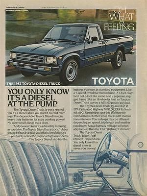 "1982 Toyota Diesel Pickup Truck ~ 8"" x 11"" Original Print Ad ~ Oh What a Feeling"