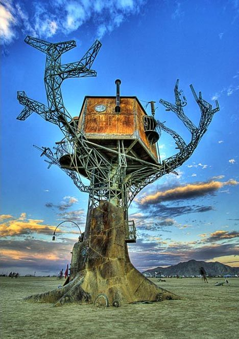 Steam punk metal tree house, need I say more? this beauty is found at Burning Man but also on dornob.com