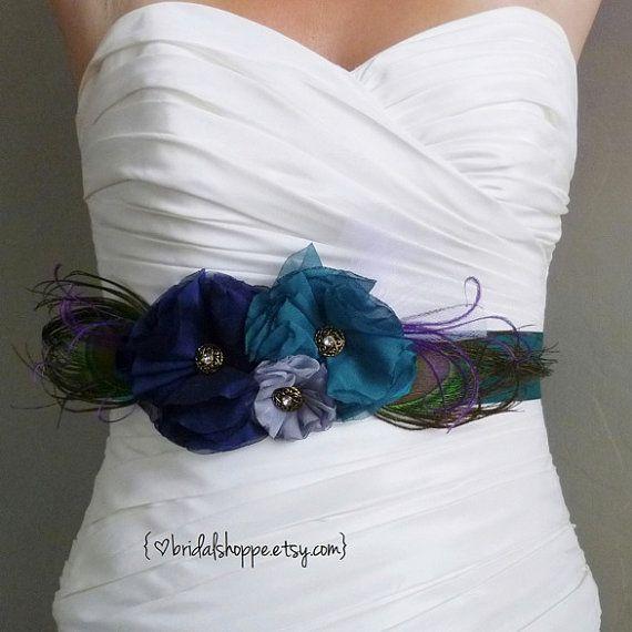 Teal Bridal Sash Navy and Grey Bridal Sash Peacock by BridalShoppe