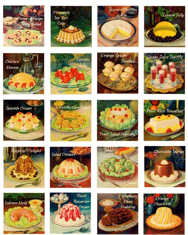 Vintage Recipe Graphics 1930s Food Digital Collage Sheet 20 1.75 inch squares D136