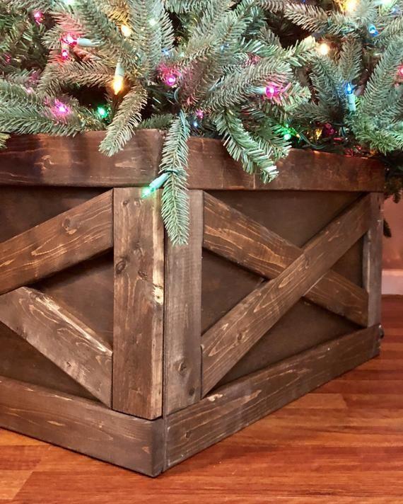 Farmhouse Christmas Tree Box Skirt Etsy Christmas Tree Box Christmas Tree Box Stand Christmas Decorations