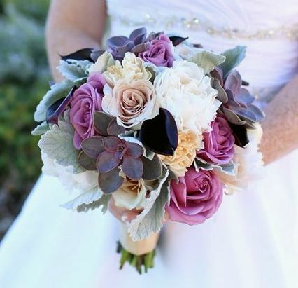 Enchanted Florist Las Vegas-muted plums and lavender bouquet with succulents.