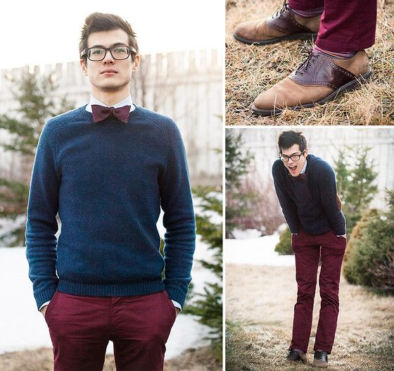 H&M Burgundy Pants, Topman Sweater, Johnston & Murphy Two Tone Oxfords, Home Made Bow Tie, Warby Parker Roosevelt, Indochino Light Blue Herringbone Shirt