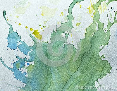Abstract texture. Green, blue  and yellow watercolor stains on paper.