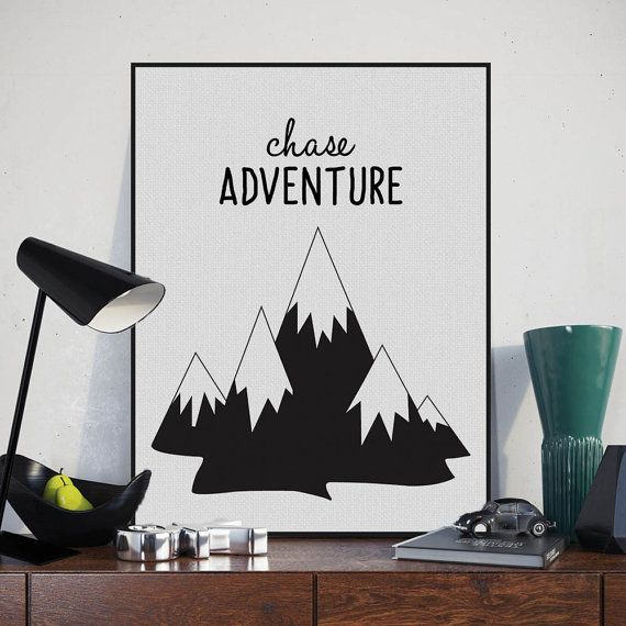 Freeshipping Nordic Minimalist Black White Typography Adventure Quotes Art Print Poster Wall Art Boy Room Canvas Painting Home Decor by PicSaying