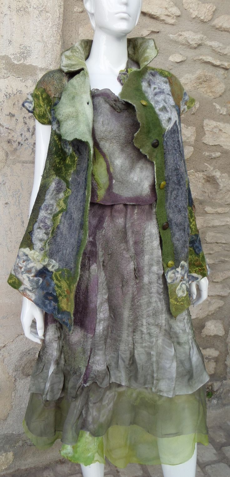 Fairy colors, layered coat and dress. Whimsical style. Feutre Nuno www.arlatine-creations.com