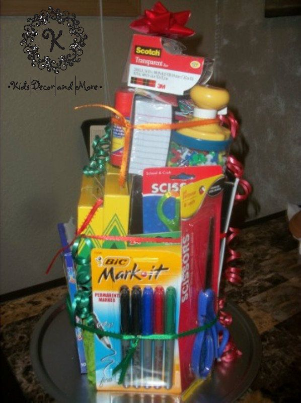 school supply teacher gift basket DIY