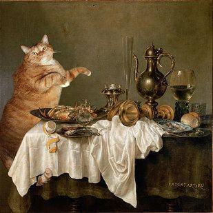 Desayuno con Cangrejo de Willem Claesz Heda   17 obras de arte clásicas mejoradas por un gato gordo pelirrojo