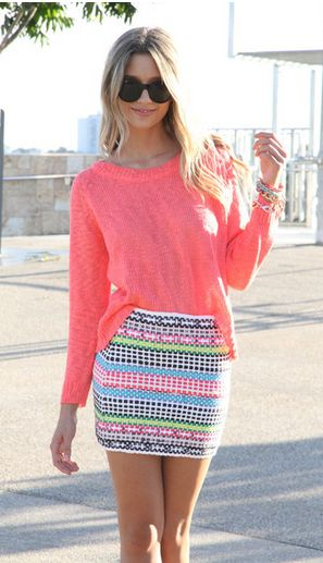 bright colors: Fashion, Pattern, Neon Skirt, Skirts, Style, Clothing, Spring Colors, Summer Outfits, Bright Colors