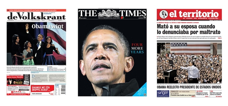 The November 7, 2012, front pages of Amsterdam's de Volkskrant, London's The Times, and Argentina's El Territorio. #NBCPolitics