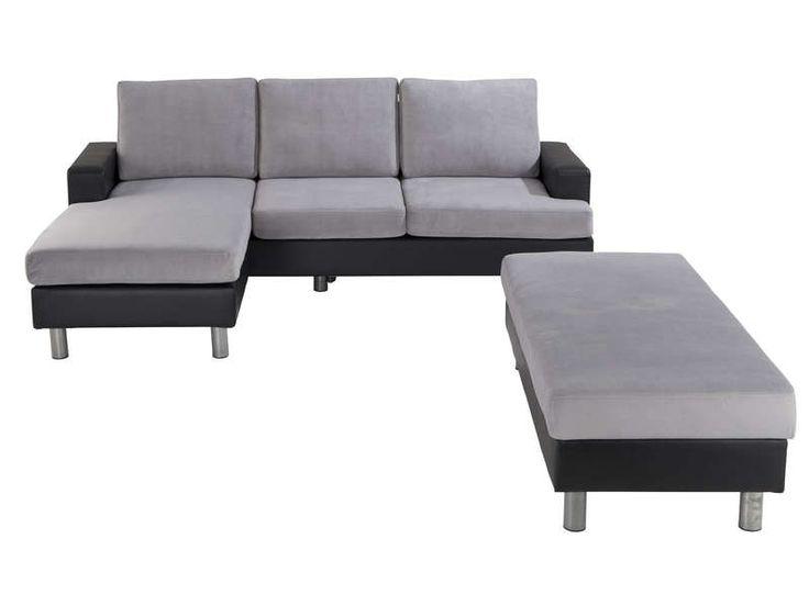 Canapé d'angle convertible et réversible 3 places + coffre RONANE coloris noir en PU/ gris - pas cher ? C'est sur Conforama.fr - large choix, prix discount et des offres exclusives Canapé d'angle sur Conforama.fr