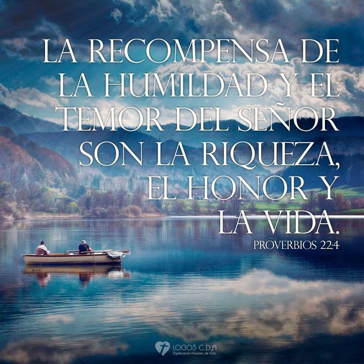 Proverbios 22:4 Riquezas, honra y vida son la remuneración de la humildad y del temor de Jehová.♔