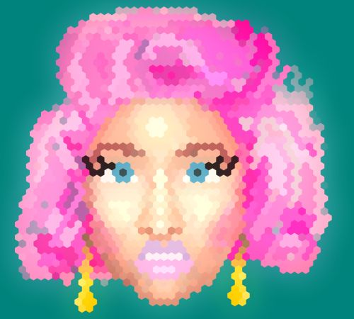 """nicki minaj portrait in HEXELS using a background image :)"""