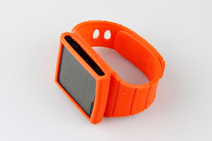 Want an Apple #iWatch early? Just #3D print one in your colour now  The 3D printed iWatch uses a flexible thermoplastic filament called #Ninjaflex that is strong yet able to bend to the contours of your wrist for comfort. The wrist band takes just over an hour to print out meaning you could churn out multiple colours to suit what you're wearing. And if it breaks? Just print another.
