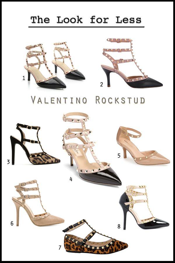 Valentino Rockstud T-strap heels and flats look for less, Valentino Rockstud shoes look alike