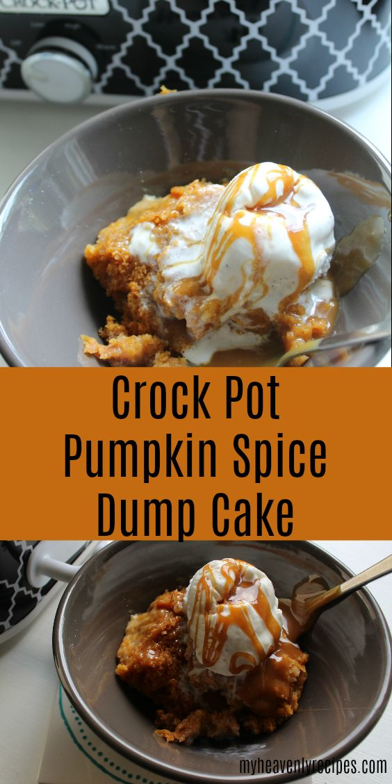 This Pumpkin Spice Dump Cake is made in the Crock Pot and leaves your home smelling like fall! Not to mention the flavors are PERFECTION! via @heavenlyrecipe