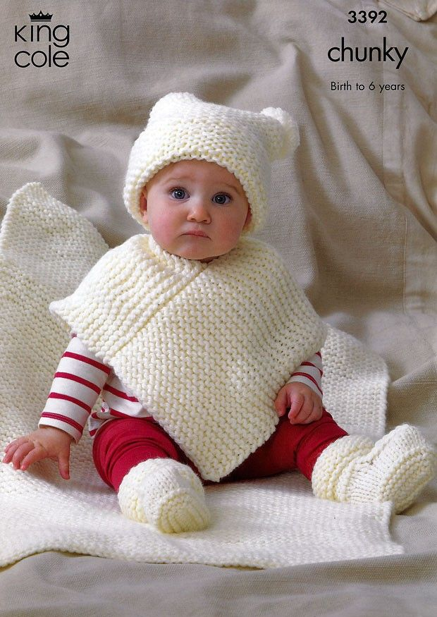 Babies Hat, Poncho, Bootees & Blanket in King Cole