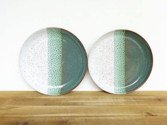 Stoneware Ceramic Pottery Rustic Dinner Plates in Sea Mist