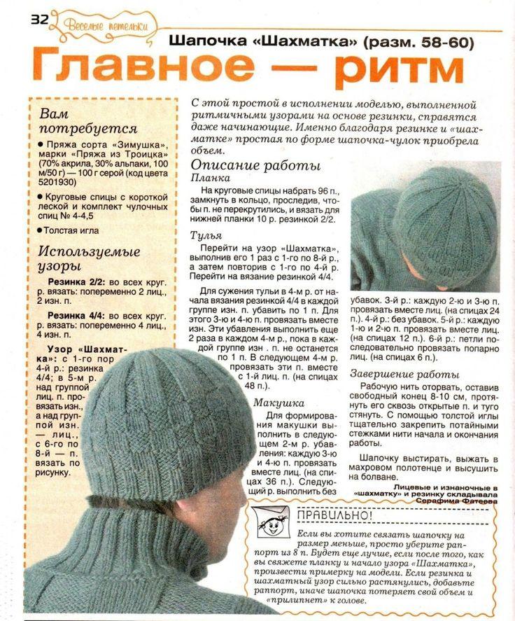 шапка с помпоном мужская penguin схема вязания