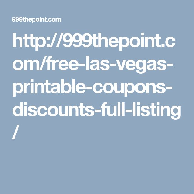Free coupons for las vegas
