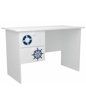 MyMilly с ящиками левый Морской стиль  — 6670р. ---------------- Стол с ящиками левый Морской стиль MyMilly удобный и практичный. Слева расположено два выдвижных ящика. Фасады украшены рисунками, а сам стол сделан из экологически чистого материала.