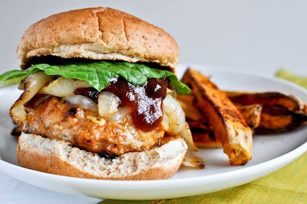 BBQ Chicken Burgers I howsweeteats.com