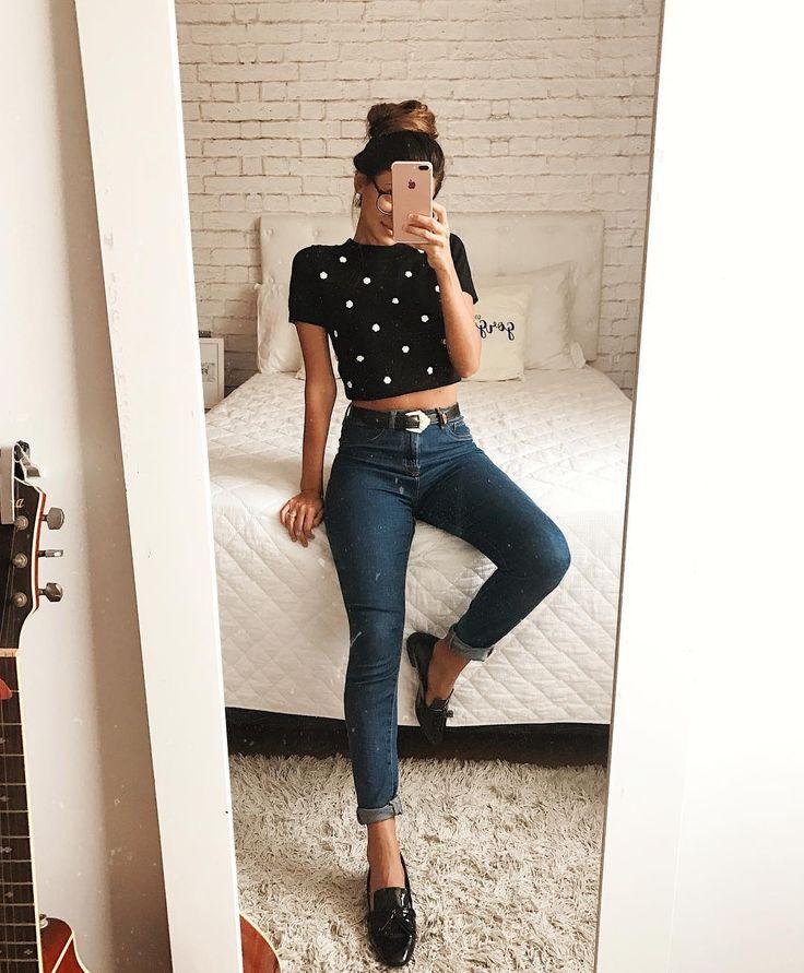 Look básico com Calça Jeans e Mocassim. Instagram: @Viihrocha