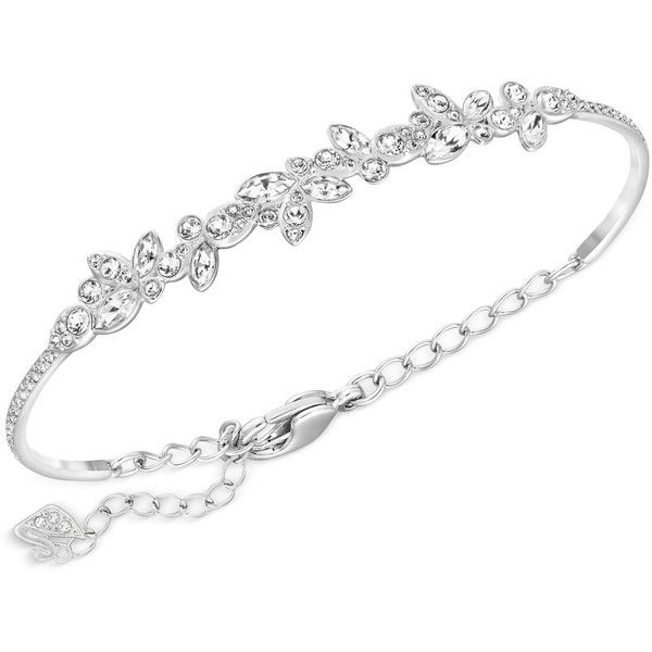 Swarovski Silver-Tone Multi-Crystal Bangle Bracelet (£97) ❤ liked on Polyvore featuring jewelry, bracelets, silver, bracelet bangle, bracelets & bangles, silvertone jewelry, crystal bangle bracelet and bangle bracelet