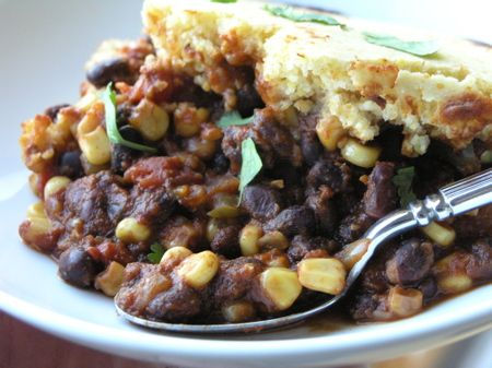 Zesty Vegetarian Chili with Cornbread Topping (I would replace sugar ...