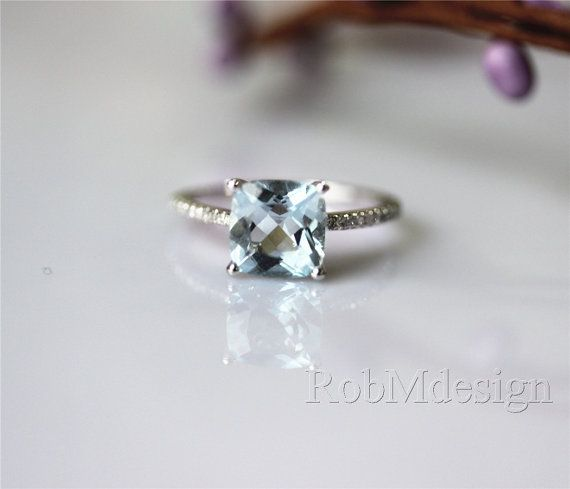 VS Cushion Aquamarine Ring Micro Pave H/SI Diamond by RobMdesign