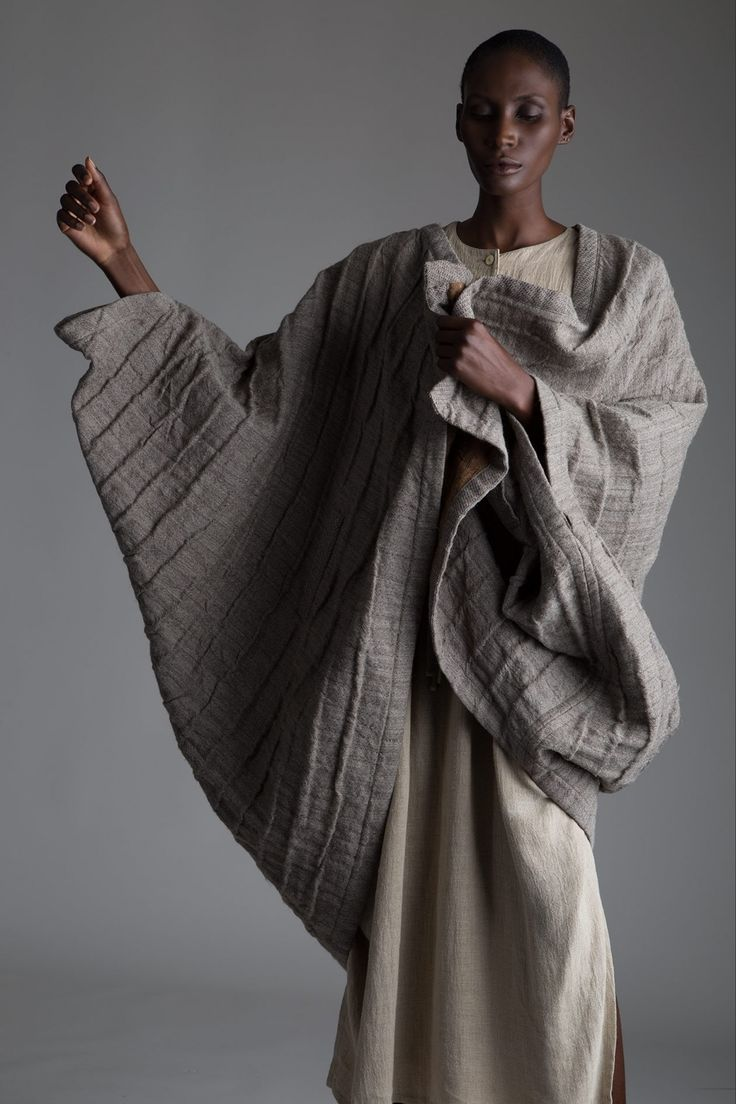 Vintage Issey Miyake Cocoon Coat and Plantation Linen Top and Skirt Set. Designer Clothing Dark Minimal Street Style Fashion