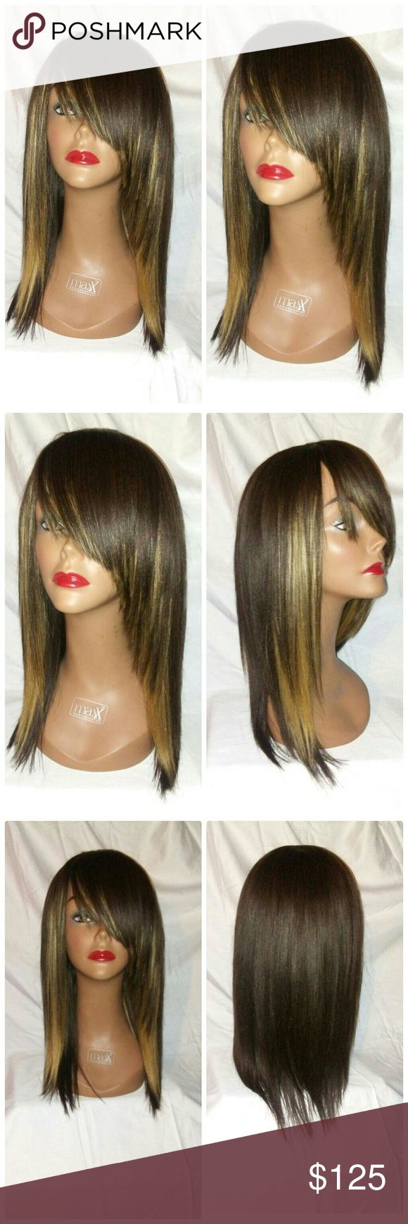 """100% human hair wig with side bangs 12"""" Brand new custom made full wig cap with side bangs color 2/27 brown/ blonde  Length 12""""   Texture: straight   Style: razor cut wig cap with side bangs 100% human hair wig( no blended or synthetic hair).   Color: 2/27 brown/ blonde   fit medium to large head.  density. 150% can shampoo.  can flat iron with temperature 450 or above.    Note: These wigs or made in my salon using a light weight wig cap stretchable to fit any size head, each track or sew on…"""