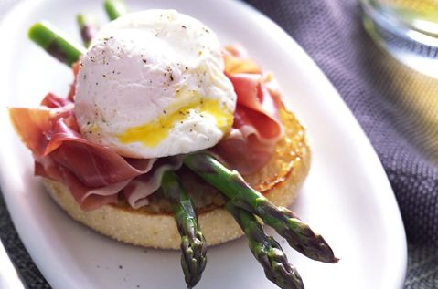 Using an English muffin for your bread is a great way to mix it up! Try an Asparagus Prosciutto Benedict from our friends at Bays English Muffins