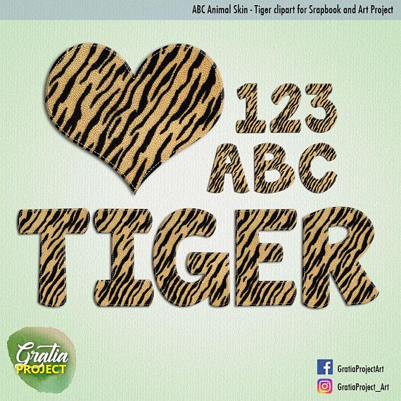 ABC Tiger Skin Print Font Clipart for Scrapbooks Baby ABC