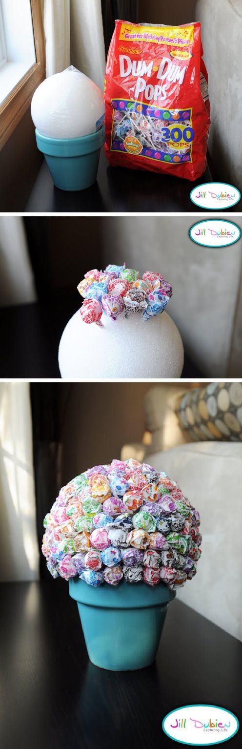 Dum Dum Lollipop Topiary- Have the kids decorate the pot.-- this would be fun with different colored tips and have the kids pull one to get surprise book fair bucks