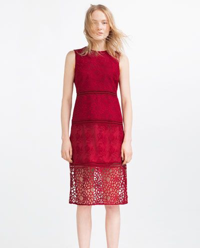 Image 1 of CONTRAST EMBROIDERED DRESS WITH LACE from Zara
