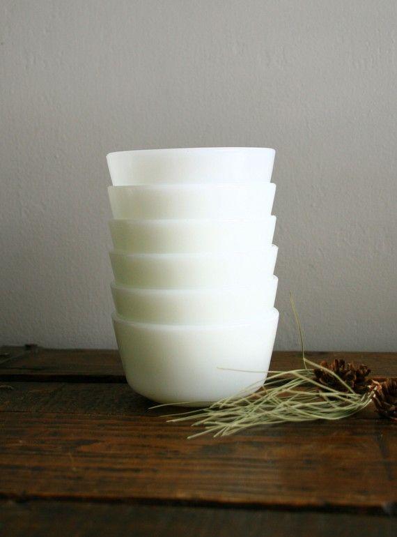 set of six vintage milk glass cups