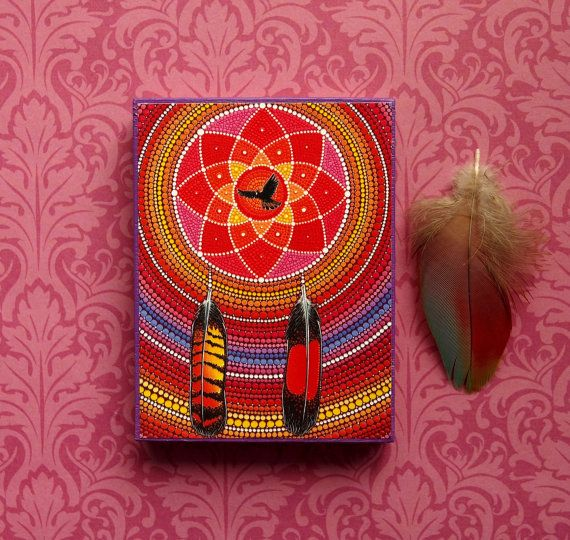 Red Tailed Black Cockatoo Dreamcatcher- Wood Block Print Art