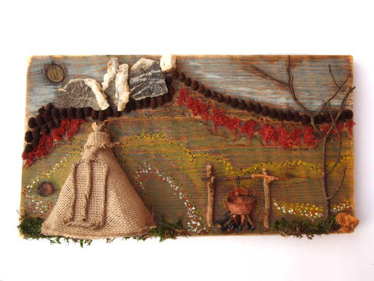 Un tablou ... mai de toamna. Am folosit panza de sac, crengute de pin, conuri de anin, muschi, pietre, o ciuperca ...
