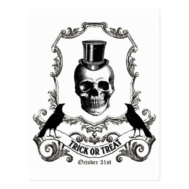 Modern Vintage Halloween skull Postcard   Zazzle.com