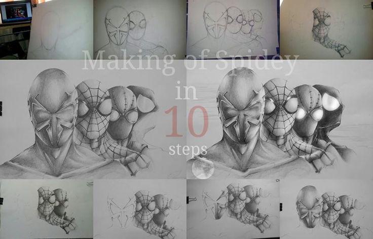 Making of Spider-man, O'Hara, Noir ,Venom  in  10 steps