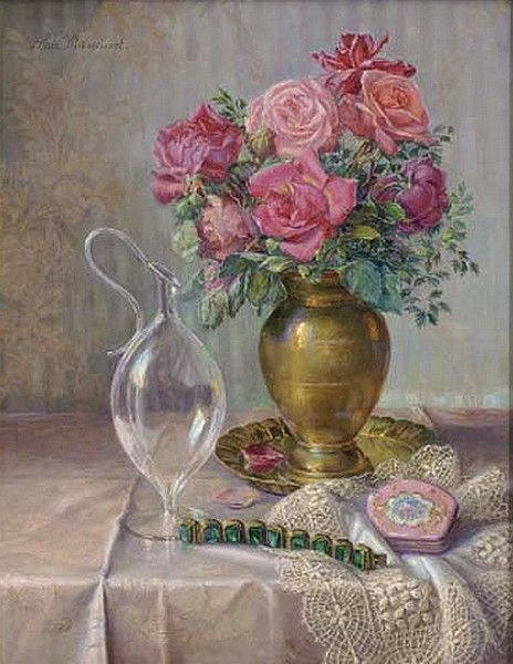 Lea Reinhart (1877-1970) —  Roses in a Bronze Vase with a Braclet to the Side…