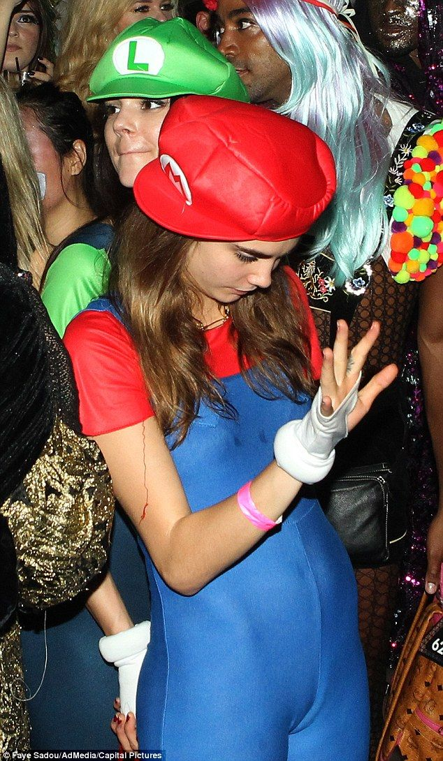 Getting close: Cara a photo on her Instagram page writing, 'Mario and Luigi minus one mous...