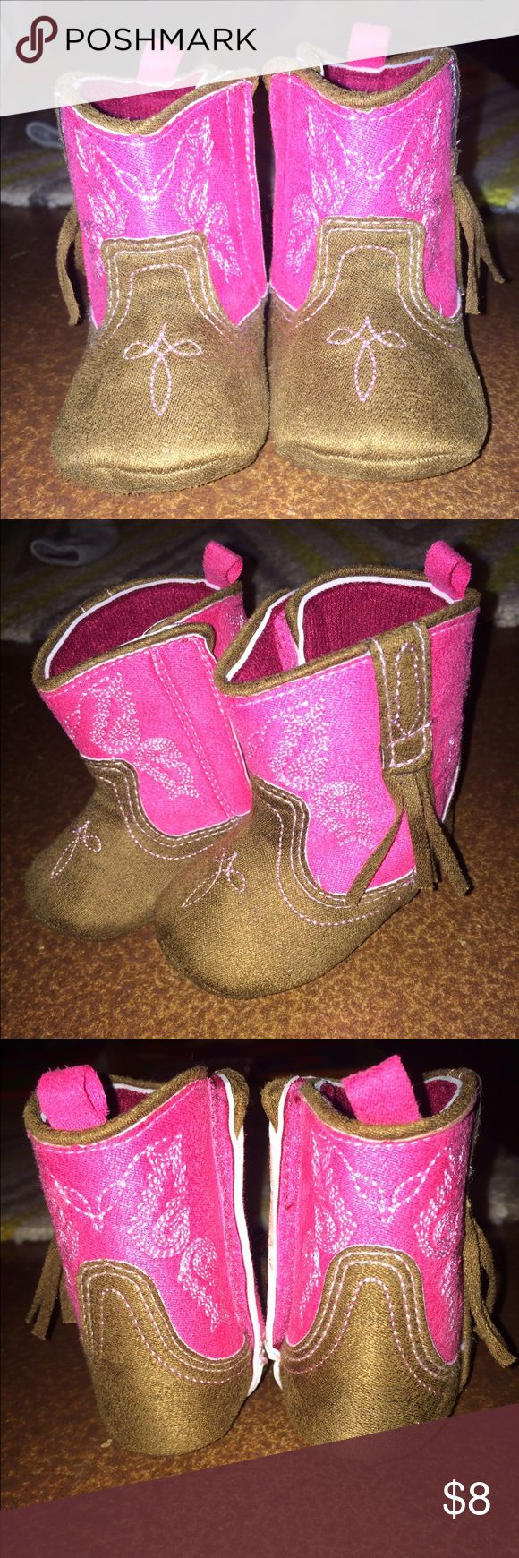 Baby Girl Cowgirl Boots Pink and brown infant cowgirl booties - 6-9 Months - Worn only once!! Rising Star Shoes Baby & Walker