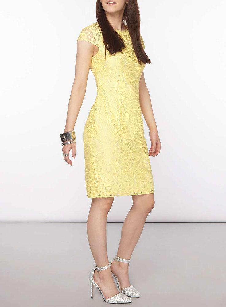 Womens Petite Yellow Lace Dress- Yellow