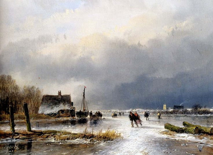 "Andreas-Schelfhout - ""A Winter Landscape with Skaters"""